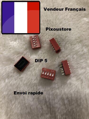 Lot de 5 micro interrupteur DIP 5 positions ON//OFF neuf DS5 Switch