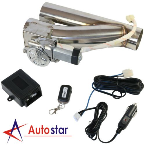 "3/"" Electric Exhaust Downpipe Cutout E-Cut Out Valve Controller Remote Kit Set"