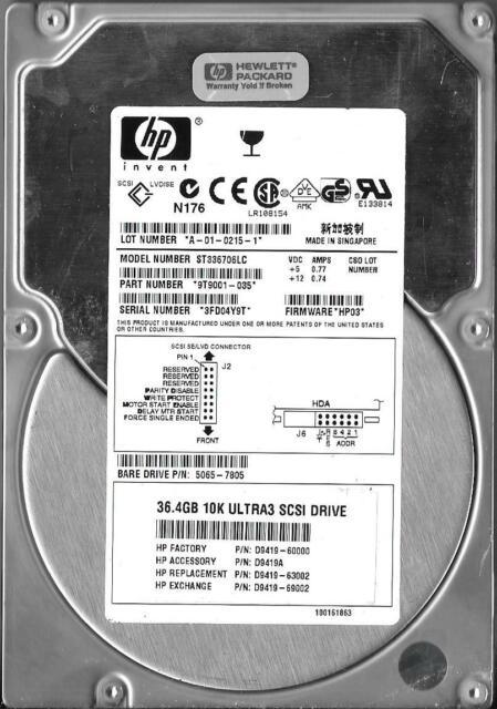 HP ST39204LC 9.1GB 10K RPM Ultra3 SCSI HDD 9P4001-504