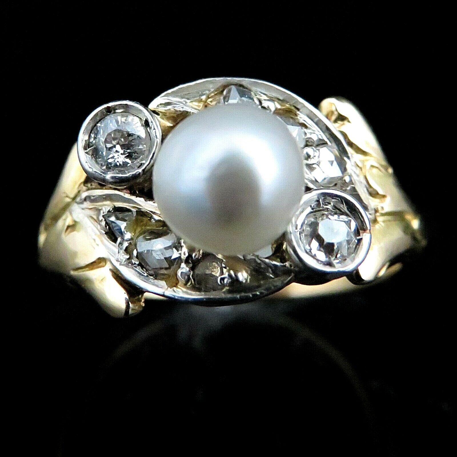 Antique Pearl Old European & pink Cut Diamond 18k Yellow gold Platinum Ring Gift