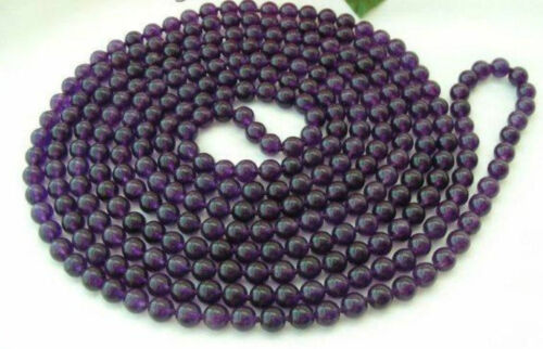 """8mm Russican Amethyst Round Bead Gemstone Necklace 36/"""""""