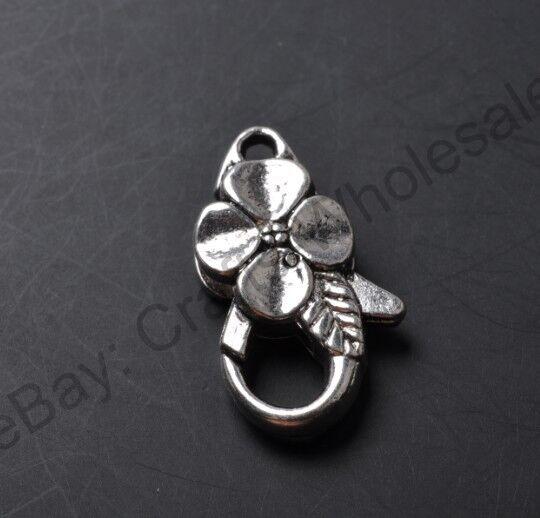 5pcs Tibetan Silver Charm Flower Lobster Clasp 25X13MM CA750