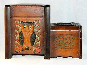 ~ Early 20thc WOOD ARTS & CRAFTS OWL SMOKE SET MUSIC BOX, German attr. ~