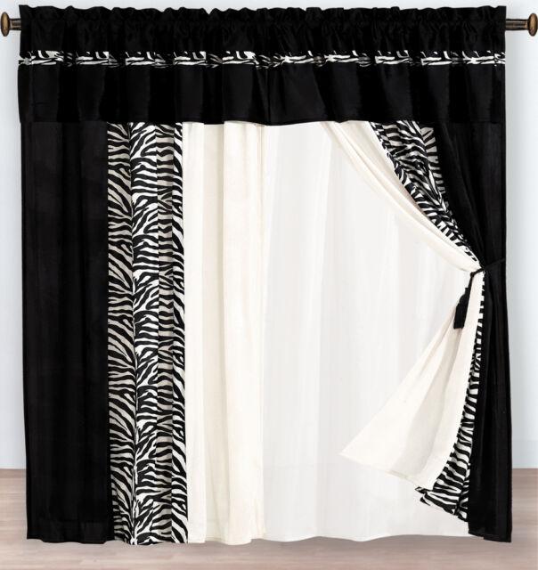 4-Pc Micro Fur White Black Flocking Zebra Pattern Window Curtain Drape Liner Set