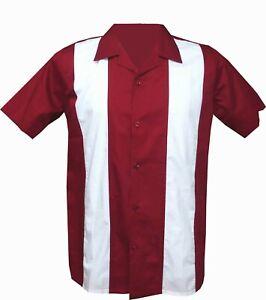Rockabilly-Fashions-Retro-Vintage-Bowling-1950-1960-Men-039-s-Shirt-Red-White