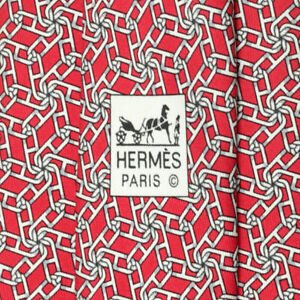 100% Auth HERMES TIE Silk Mens XL Timeless CHAINE D'ANCRE GEOMETRIC Pattern 5450