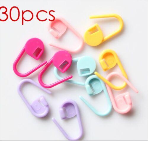 30x Colorful Knitting Crochet Locking Stitch Markers Holder Needle Clip Craft JD