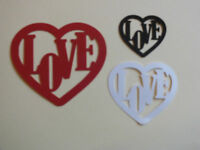 15 LOVE HEARTS DIE CUT SILHOUETTE CARD TOPPER 3 SIZES 3 COLOURS + VINYL