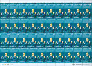 Nicaragua-1974-Sir-Winston-Churchill-MNH-Full-Complete-Sheet-Cyl-2A-1A-S333