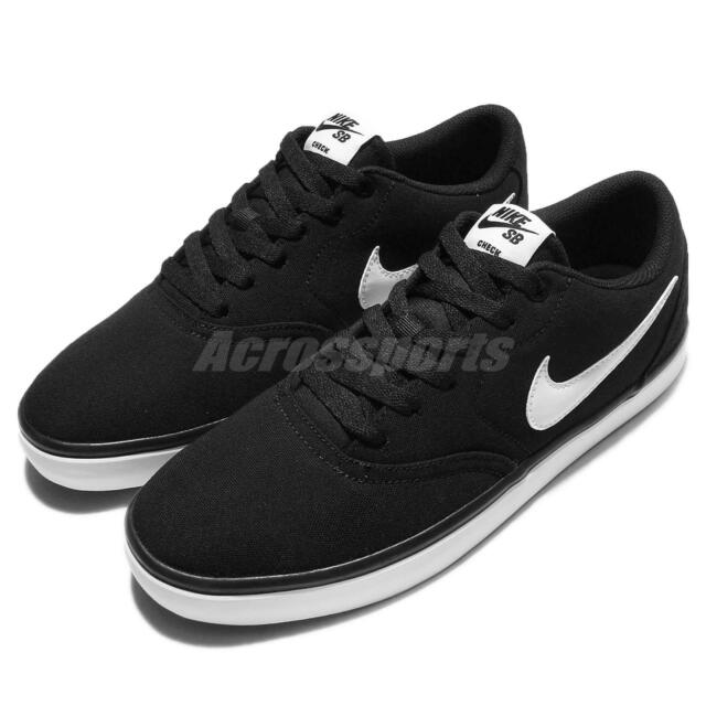 new concept 2c134 d88c3 Nike SB Check Solar CNVS Canvas Black White Men Skateboarding Shoes  843896-001