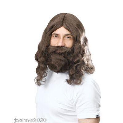 60s 70s Hippy Hippie or Jesus Prophet Brown Wig and Beard Costume Fancy Dress