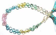 "Natural Gem Multicolor Aquamarine Faceted 5MM Approx. Heart Shape Briolettes 8"""