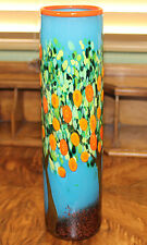 Signed MAD ART Skinny Cylindrical Orange Tree Art Glass Vase