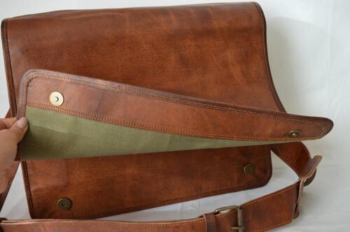 Men/'s Genuine Vintage Leather Messenger Laptop Briefcase Satchel Brown Bag