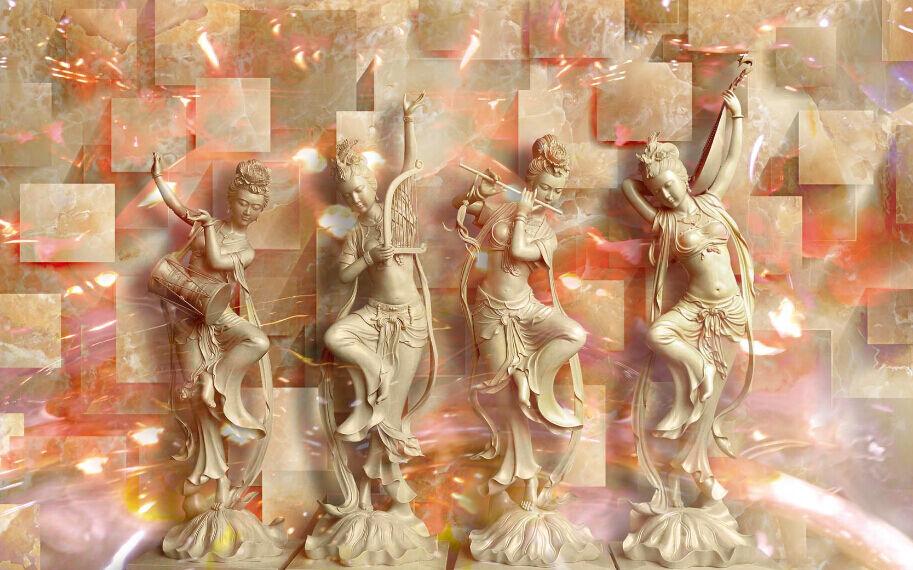 3D Jade Kunstwerke 2989Fototapeten Wandbild Fototapete BildTapete Familie