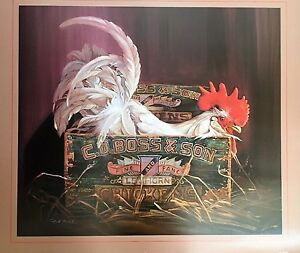 Poster Red Rooster Rare 28x36 French Country