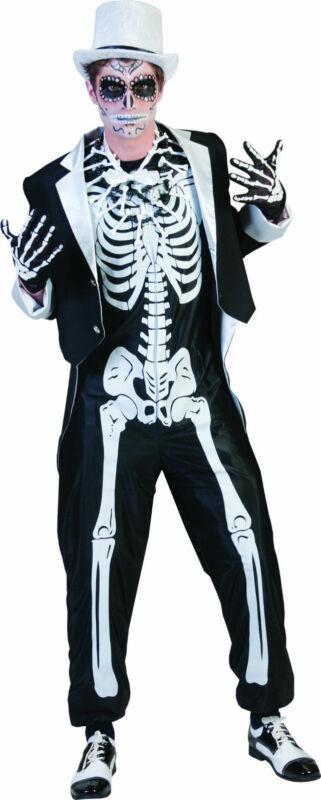 Horror Novio Disfraz 2 Piezas Set Halloween Carnaval Carnaval Esqueleto Traje Nuevo