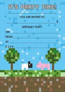Detalles De Paquete De 10 Invitaciones Con Sobres No Oficial Minecraft Tarjeta Banner Ver Título Original