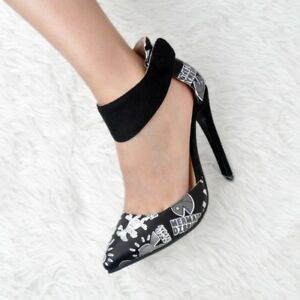 Women-Pointed-Toe-Floral-Slim-High-Heels-Pumps-Ankle-Buckle-Stiletto-Party-Shoes