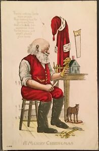 Santa-Claus-At-Workbench-Carving-Toys-Tools-Embossed-Christmas-Postcard-Poem