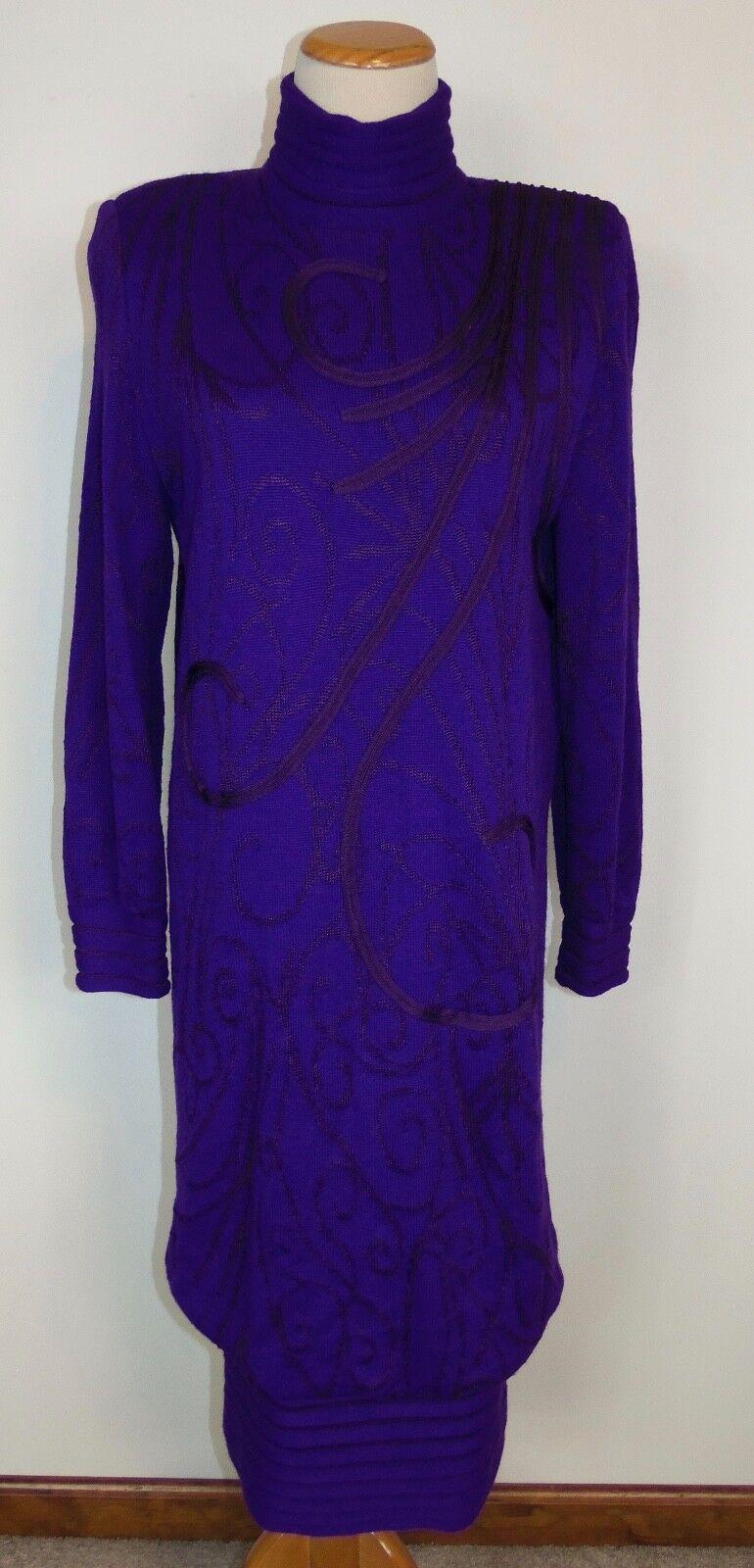 Medici Sweater Dress Sz 8 Purple Wool Blend Vtg Gill Harvey Made in
