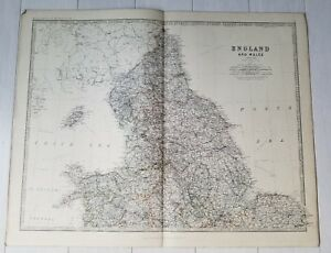 Old-Antique-1880-Map-Of-England-And-Wales-English-Channel-North-JOHNSON-MAP