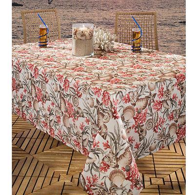 """TAMBOUR 60 x 84/"""" Ob or 70/"""" Rd Vinyl Floral Umbrella Zipper Hole Tablecloth NIP"""