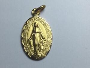 Pendentif médaille Vierge Miraculeuse rue du bac 1830  Or Jaune massif 18 carats