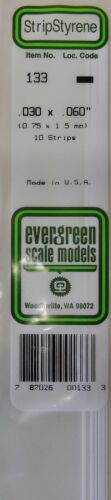 "Evergreen Strip Styrene 133 10 x .030 x.060/"" Strips"