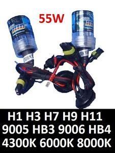 Pair-of-55W-HID-Replace-Bulbs-H1-H3-H4-H7-H9-H11-9005-HB3-9006-4300K-6000k-8000K