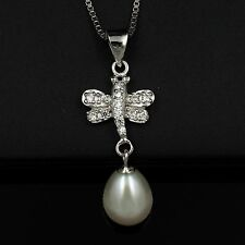 11 mm White Freshwater Pearl CZ 925 Sterling Silver Pendant Chain Necklace 03573