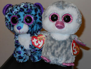a8176633300 Ty Beanie Boo Set~ Lizzie (Leopard)   Olive (Penguin) 6 Inch ...