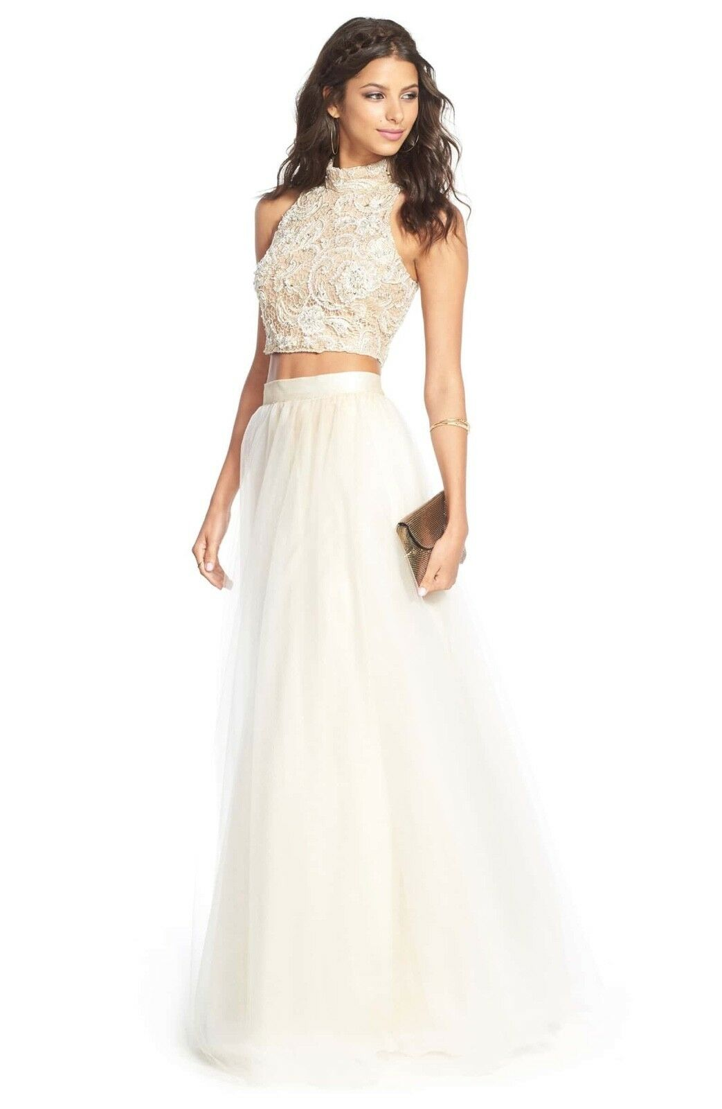 Terani Couture Embellished Top & Tulle Skirt Two-Piece Ballgown Size 4