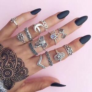Elegant-Boho-Punk-Vintage-Middle-Finger-Rings-Set-Knuckle-Band-Beach-Jewelry-NEW