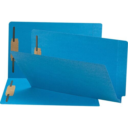 Smead 28040 Blue End Tab Colored Fastener File Folders With Reinforced Tab