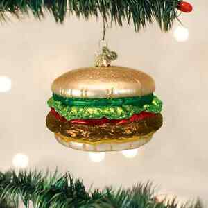 CHEESEBURGER-GLASS-ORNAMENT-Silly-Fun-Food-Joke-Funny-50-039-s-Nostalgic-Christmas