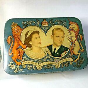 1953 Coronation Queen Elizabeth II Biscuit Tin Wrights South Shields 18x12x6cm