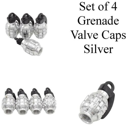 Silver Hand grenade Style Valve Caps Set of 4 Dust Caps Universal Fit