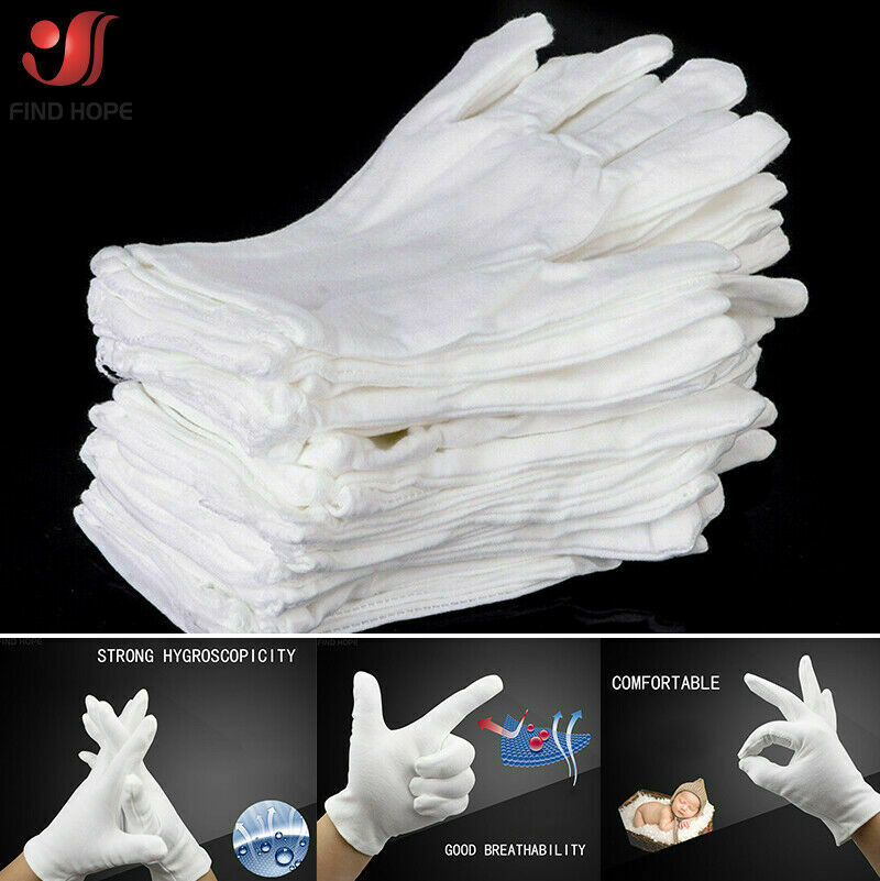 1/6/12Pairs White Cotton Gloves Jewelry Inspection Disposable Glove Lightweight