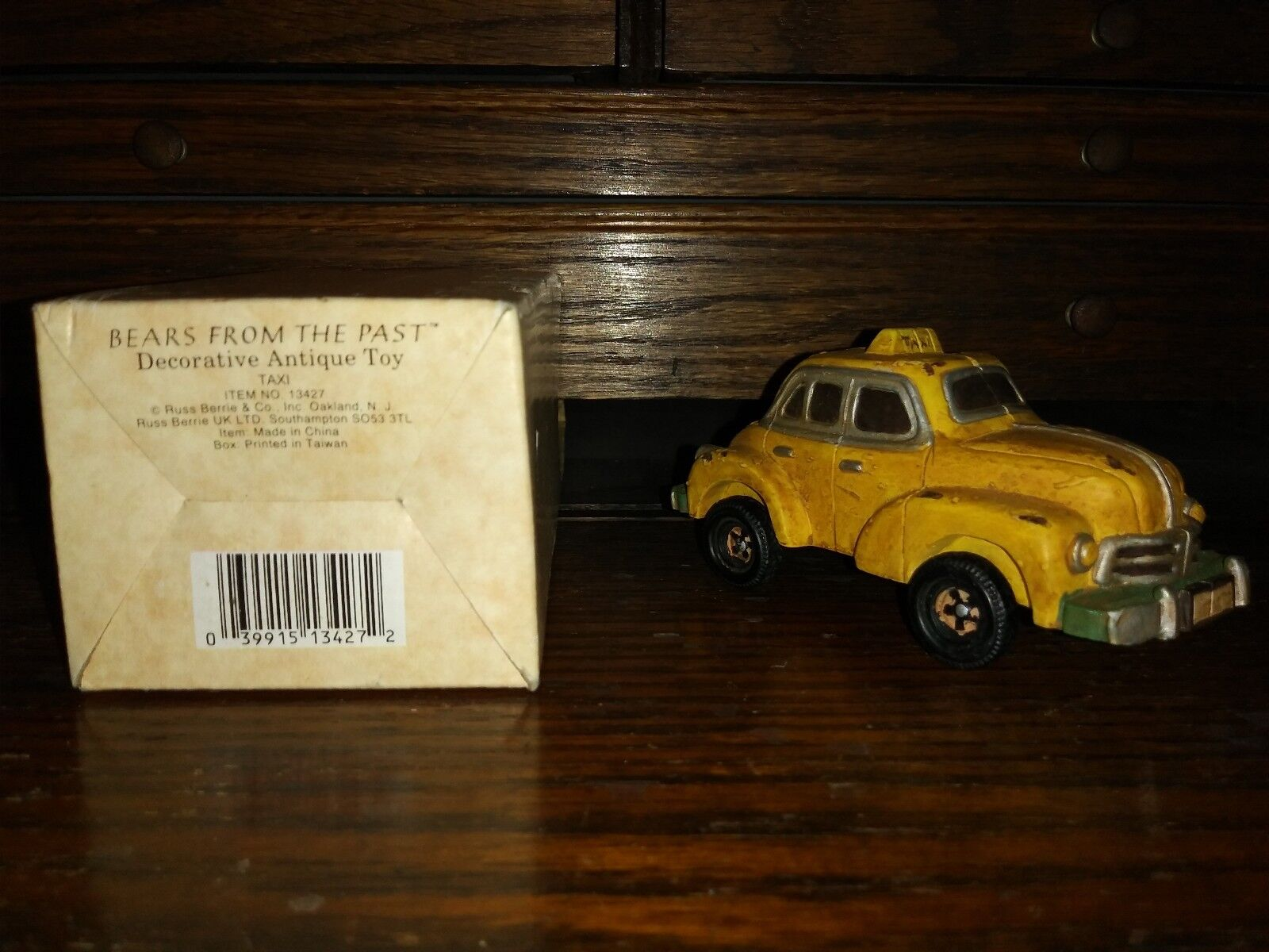 RARE Vtg Russ Russ Russ BEARS FROM THE PAST No. 13427 Decorative Antique Toy TAXI NIB a09a92