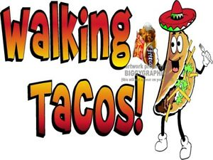 WALKING-TACO-IN-A-BAG-VINYL-DECAL-CHOOSE-SIZE-CONCESSION-STAND-BOARDWALK-SHOPS