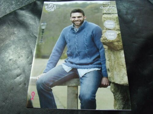 King Cole Double Knit Mens Sweaters Pattern 4926 91-127 cm