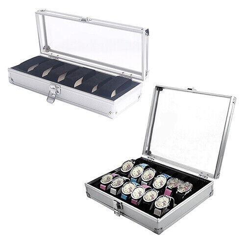 6/12 Grid Slots Aluminium Display Watch Storage Box Case Organizer Jewelry Sight Boxes, Cases & Watch Winders