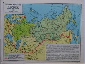 1961-SOVIET-MAP-RUSSIAN-ADVANCE-SIBERIA-PETER-THE-GREAT-1725