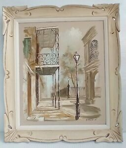 Eugene Daymude (1925-1995) Painting New Orleans Street Lamp Signed D'MUDE 1965
