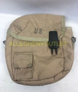 US Military 2 QT Collapsible Water Canteen Cover Pouch Desert Tan VGC
