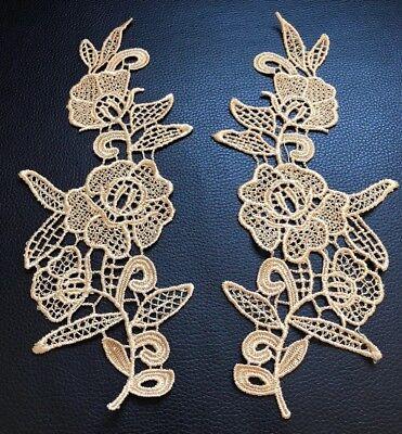 Dark Gold Floral Motif 2 Pcs Applique Sewing Craft Venise Lace Trim Buy4Get1Free