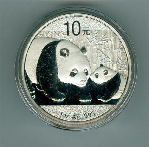 .999 SILVER PANDA GEM BU IN ORIGINAL CAPSULE CHINA 2011 10 YUAN 1 OZ