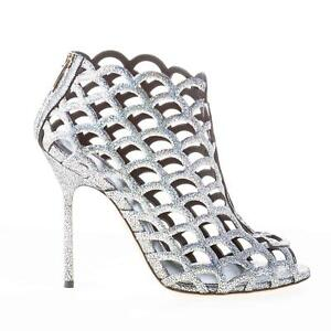 Details about SERGIO ROSSI women shoes Mermaid silver glittered leather ankle boot zip A59980