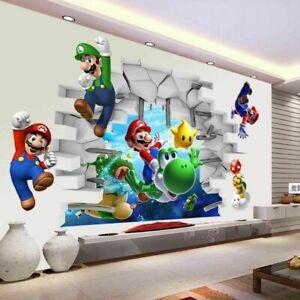 Super-Mario-Bros-Kids-Cartoon-Wall-Sticker-Decals-Nursery-Home-Decor-FREE-SHIP